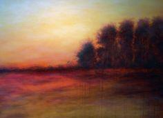 "Huge 40"" x 30"" - "" Western Lights  "" - Modern Landscape by Jagoda Lane - Wall Art on Etsy, $540.00"