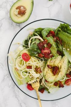 11 Gluten-Free Ways to Cook with Zucchini Noodles: BLAT Salad with Zucchini Noodles