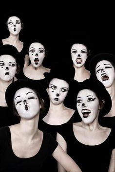 Example of how theatrical make-up can help define character - or even be used as stimuli for devising or developing physical theatre ideas.