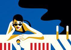 Malika Favre portrait illustration in pool for Domain West Hollywood luxury living Art And Illustration, Illustrations And Posters, Portrait Illustration, Retro Kunst, Retro Art, Kunst Poster, Poster S, Arte Pop, Penguin Books
