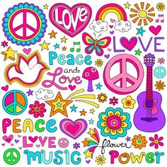 Peace and Love Flower Power Groovy Psychedelic Notebook Doodles. Peace and Love Flower Power Groovy Paz Hippie, Mundo Hippie, Hippie Peace, Hippie Love, Hippie Party, Flower Power, Hippie Flowers, Love Flowers, Peace Love Happiness