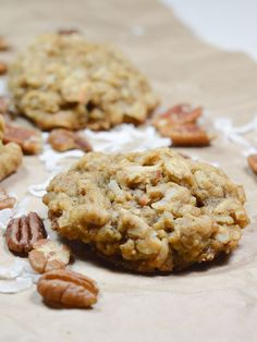 These Oatmeal Coconut Pecan Cookies are a great snack or dessert the whole family can enjoy! (cookie monster cupcakes baking soda) (easy oatmeal cookies no baking soda) Coconut Pecan Cookie Recipe, Pecan Cookie Recipes, Cookie Desserts, Just Desserts, Baking Recipes, Delicious Desserts, Dessert Recipes, Cookie Bars, Salted Cookies Recipe