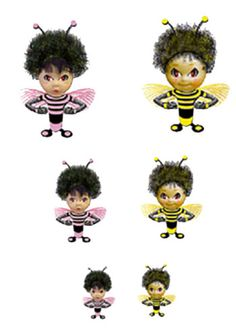 Huggabee's. Bee shaped dolls with arms that extend and wrap around. Smaller versions were created for fingers.