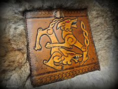 Viking Inspired Design - Double Wolf Wallet with Border Trim - Tall Leather Biker Wallet with Chain