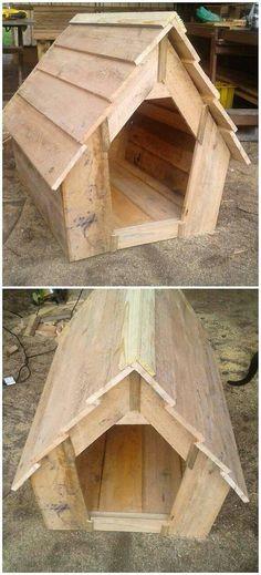 Pallet Dog House #WoodworkingDogHouse