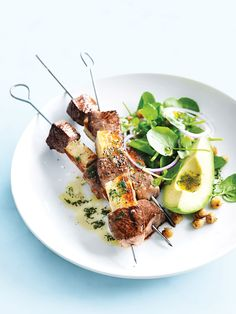 Haloumi And Lamb Skewers Donna Hay, Rosemary lamb backstrap with red pepper, zuchinni and haloumi salad recipe : SBS Food, Lamb with haloum. Lamb Recipes, Meat Recipes, Dinner Recipes, Cooking Recipes, Healthy Recipes, Barbecue Recipes, Barbecue Sauce, Grilling Recipes, Dessert Recipes