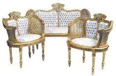 Carved Giltwood Three Piece Salon Suite of Louis XVI design