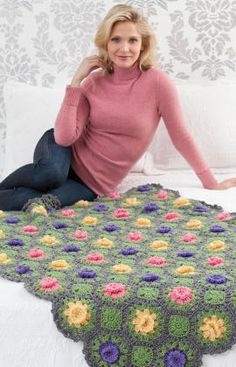 A Garden Of Flowers Throw By Roseanna Beck - Free Crochet Pattern - (redheart) (crochet square patterns link)