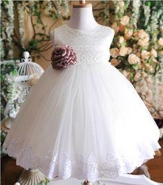 Free shipping White princess flower girls dress Dress party evening elegant 2 12 age-inFlower Girl Dresses