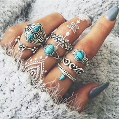 Картинка с тегом «nails, rings, and blue»