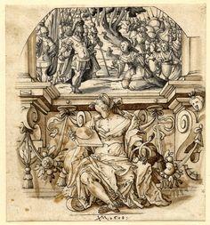 Virtudes Cardinales: Alegoría de la Prudencia. Jos Murer. 1608. Tinta sobre papel. Museo Británico.   Jorge García-Jurado.