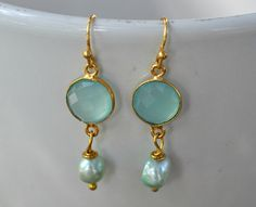 Seafoam Chalcedony Gold Bezel Earring, Boho Style Gold Bezel Chalcedony Earring, Bridesmaid Chalcedony Earring, Blue Chalcedony Earring by JewelrybyXinyiMartin on Etsy