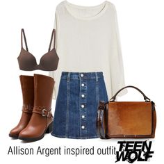 Allison Argent inspired outfit/TW by tvdsarahmichele on Polyvore featuring AG Adriano Goldschmied, Uniqlo and Reed Krakoff