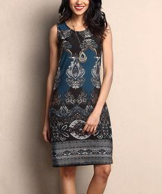 Another great find on #zulily! Black & Emerald Damask Sleeveless Shift Dress #zulilyfinds