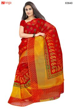 Printed Pallu Saree in Red. Message/call/WhatsApp at +91-9246261661 or Visit www.zinnga.com