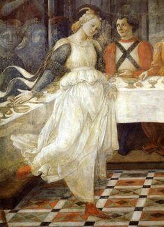 "Salome Dancing. Fra Fliippo Lippi's fresco ""The Feast of Herod,"" 1452-65. Duomo, Prato, Italy."