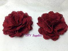 Maroon burlap flower- diy supplies - fabric flowers - wholesale flowers - hair bow supplies