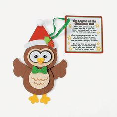 Christmas Owl Ornament With Poem Craft Kit - OrientalTrading.com