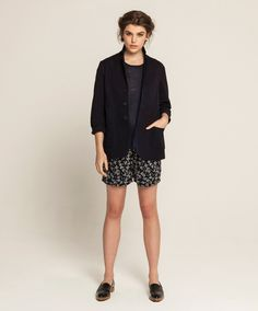 Fully Fashioned Linen T - Ink, Unlined Hand Dyed Jacket - Natural Indigo, Drawstring Lounge Shorts - Link-Floral
