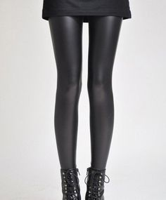 PU Leather Thickened Plush Fleece Solid Color Leggings – teeteecee - fashion in style
