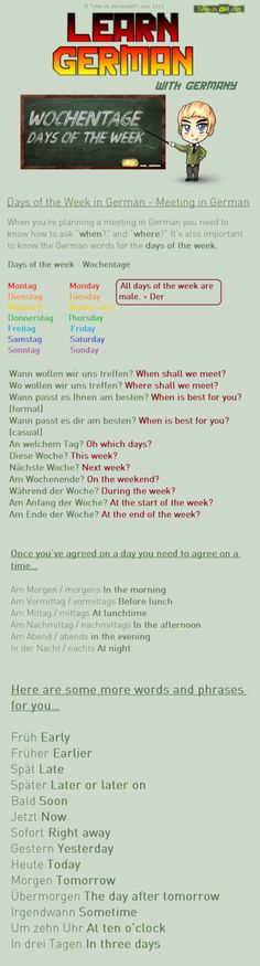 Learn German - Days of the week / Meeting by TaNa-Jo on DeviantArt