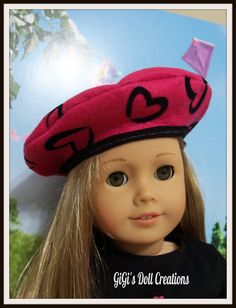 Hot pink with black heart Beret for American Girl Doll - sold on Etsy by GiGisDollCreations