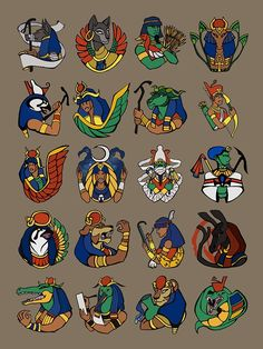 Row 1> Anubis, Bastet, Geb, Hathor  Row 2> Horus, Isis, Khnum, Neith  Row 3> Nephthys, Nut, Osiris, Ptah  Row 4> Ra, Sekhmet, Seshat, Set  Row 5> Sobek, Thoth, Trefnut, Wadjet