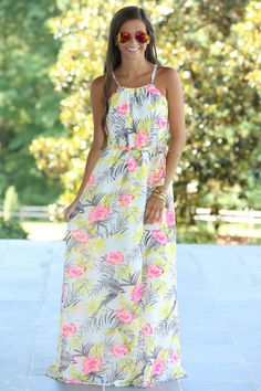 Island In The Sun Maxi Dress-Seashell - $39.00
