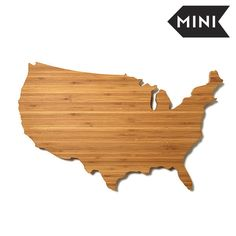 AHeirloom's USA Shaped Mini Cutting Boards is made from a 100% rapidly renewable bamboo plywood, which can be personalized or engraved. It's a unique and highly-personalized gift that can commemorate