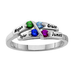 Sterling Silver Alternating Birthstone Mother's Ring - Personalized