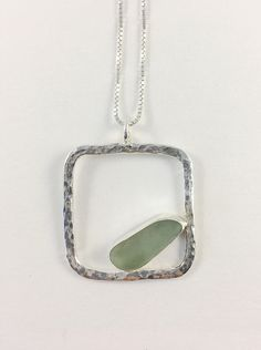 Light seafoam sea glass and sterling silver pendant Long Silver Necklace, Silver Pendant Necklace, Silver Necklaces, Pendant Jewelry, Beaded Jewelry, Silver Jewelry, Jewelry Shop, Silver Earrings, Jewelry Necklaces