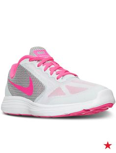 Don't send your daughter back to school without a new pair of pink sneakers! These Nike running shoes are great for playtime, gym class or hitting the hallways. A cute style and comfortable design mean she'll want to wear them every day.