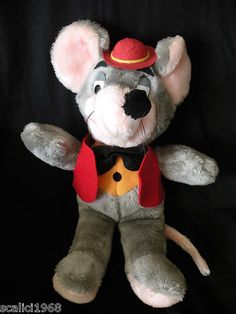 "Chuck E Cheese Mouse Rat Plush Toy VINTAGE Grey Red Vest Hat Black Bow Tie 18"""