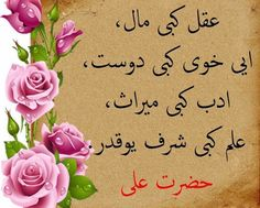 Akıl gibi mal, iyi huy gibi dost, edeb gibi miras, ilim gibi şeref yoktur. Hazreti Ali