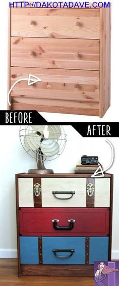 DIY Furniture Makeovers - Refurbished Furniture and Cool Painted Furniture Ideas for Thrift Store Furniture Makeover Projects Coffee Tables, Dressers and Bedroom Decor, Kitchen Suitcase Dresser H (Try Table) Thrift Store Furniture, Refurbished Furniture, Repurposed Furniture, Painted Furniture, Vintage Furniture, Diy Old Furniture Makeover, Upcycled Furniture Before And After, Decoupage Furniture, Distressed Furniture