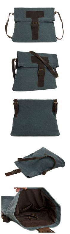 Canvas Leather Messenger Bag Cross Body Shoulder Bag Satchel Bag