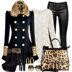 Black and leopard print trench black leather casual Fashion Over 50, Fashion Looks, Bcbg, Stylish Plus, Fashion Plates, Polyvore Outfits, Passion For Fashion, What To Wear, Fashion Dresses