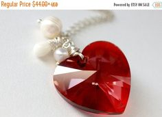 HALLOWEEN SALE Amber Red Crystal Necklace. Heart Necklace. Swarovski Elements Necklace with Coral Teardrop and Pearls. Handmade Jewellery. by StumblingOnSainthood from Stumbling On Sainthood. Find it now at http://ift.tt/2dKXqfJ!