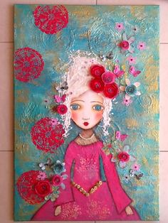 Made-By-Me....Julie Ryder: Marie Antoinette…..mixed media on canvas...