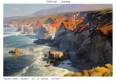 Mirabellicious ♥: Plein Air Paintings by Calvin Liang: 'Rocky Coast, Carmel', oil on canvas. Landscape Art, Landscape Paintings, Wall Art Canada, American Impressionism, Costa, Painting Workshop, Sea Art, Art Academy, Pastel