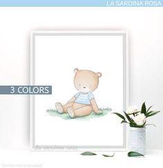 Watercolor bear art print Woodland nursery decor by La Sardina Rosa on Etsy