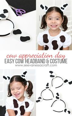 Craft: Cow Appreciation Day Costume - See Vanessa Craft , Craft: Cow Appreciation Day Costume - See Vanessa Craft Easy Cow Costume and Headband for Chick Fil A Cow Appreciation Day. Kids Cow Costume, Cool Couple Halloween Costumes, Diy Baby Costumes, Cow Diy Costume, Woody Costume, Homemade Costumes, Halloween 2020, Diy Halloween, Farm Animal Costumes