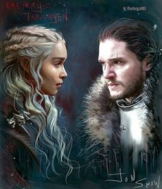 "509 Likes, 3 Comments - Game of Thrones (@art.of.ice.and.fire) on Instagram: ""Daenerys Targaryen and Jon Snow ""Ice and Fire"" - by @carlosgzz003 ° ° ° #daenerystargaryen…"""