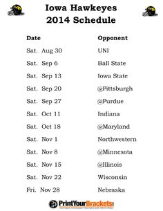 Printable Iowa Hawkeyes Football Schedule 2014