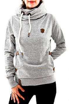 Stylish Hooded Long Sleeve Draped Spliced Hoodie For Women