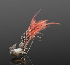 Aigrette hair ornament with feathers, diamond, ruby and pearl 19th century