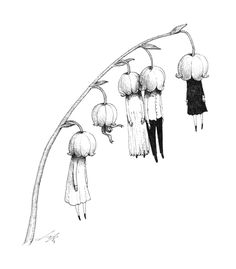 Sungwon aka Spowsy (Seoul, South Korea) - Dangle, 2013 Drawings: Pen on Paper Lily of the Valley Art And Illustration, Illustrations, Art Sinistre, Art Du Croquis, Desenho Tattoo, Creepy Art, Art Drawings Sketches, Fairy Drawings, Art Sketchbook