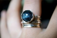Mini+Scalloped+ring+in+Teal+Sparkle+by+hannahnaomi+on+Etsy,+$45.00