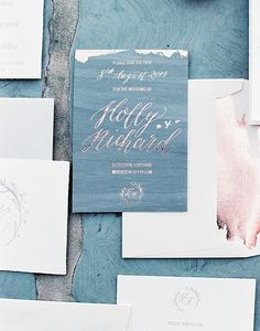 Unique foil pressed wedding invitations. Photography : Katie Julia Read More on SMP: http://www.stylemepretty.com/2016/08/11/modern-white-grey-english-tent-wedding/