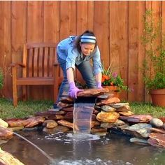 How to build a small pond with a waterfall feature! How to build a s Small Garden Waterfalls, Small Backyard Ponds, Ponds For Small Gardens, Fish Pond Gardens, Outdoor Ponds, Backyard Water Feature, Small Ponds, Outdoor Fountains, Ponds With Waterfalls